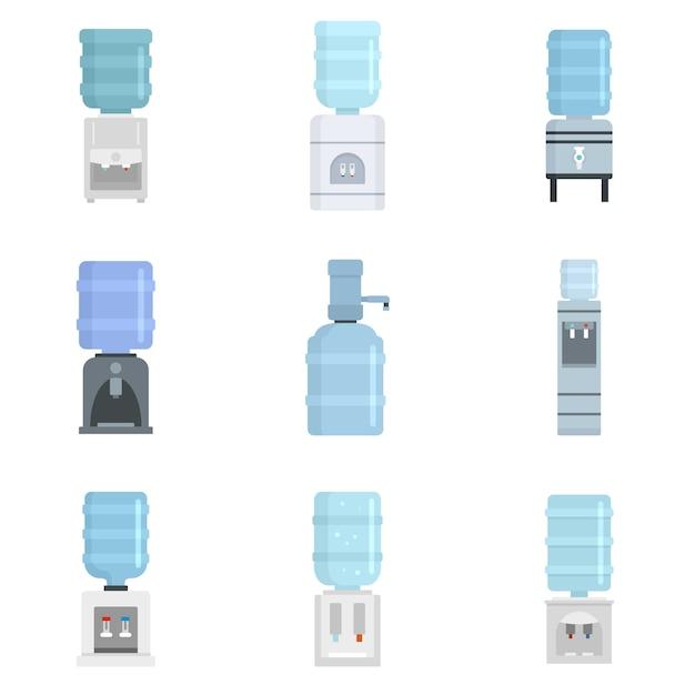 Conjunto de iconos de agua más fría Vector Premium