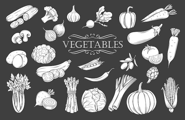 Conjunto de iconos aislados de glifo de verduras. blanco sobre negro, ilustración, menú de restaurante de productos veganos de granja, etiqueta de mercado y tienda. Vector Premium