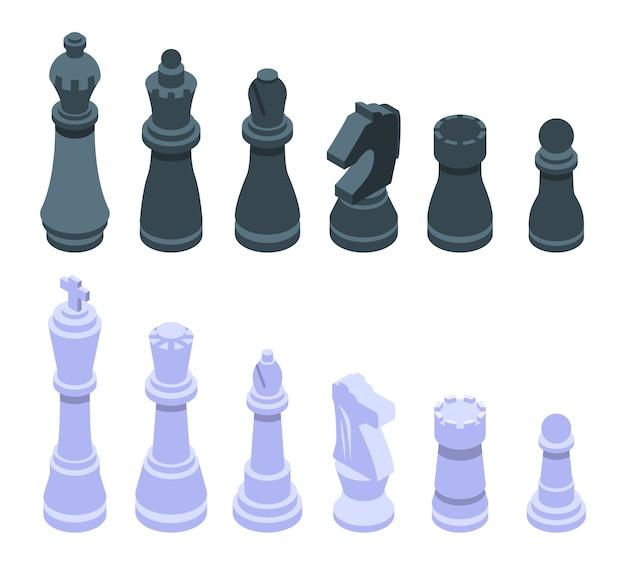 Conjunto de iconos de ajedrez, estilo isométrico Vector Premium