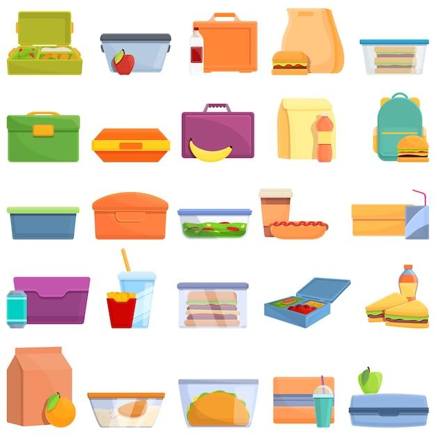 Conjunto de iconos de almuerzo. iconos de almuerzo Vector Premium