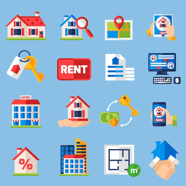 Conjunto de iconos de alquiler y tenencia vector gratuito