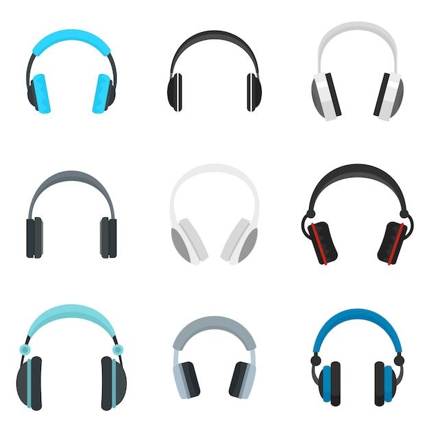 Conjunto de iconos de altavoces de música de auriculares Vector Premium