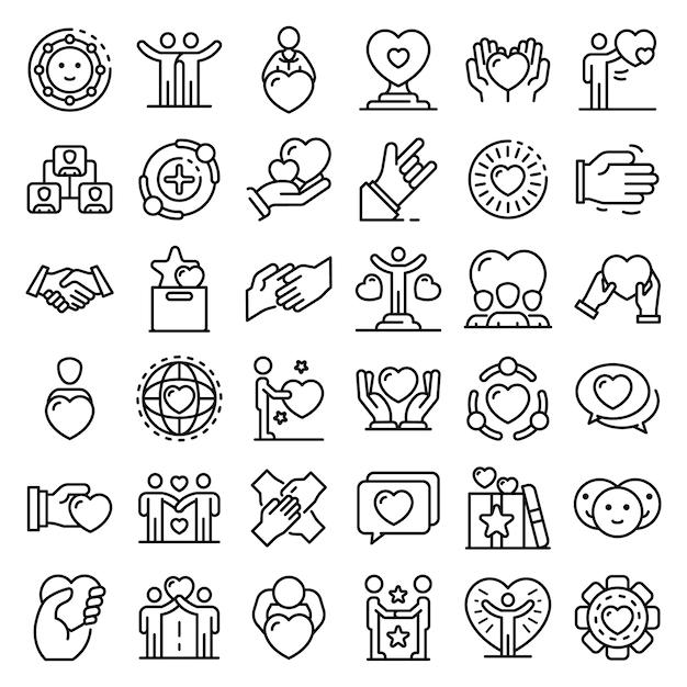 Conjunto de iconos de amistad, estilo de contorno Vector Premium