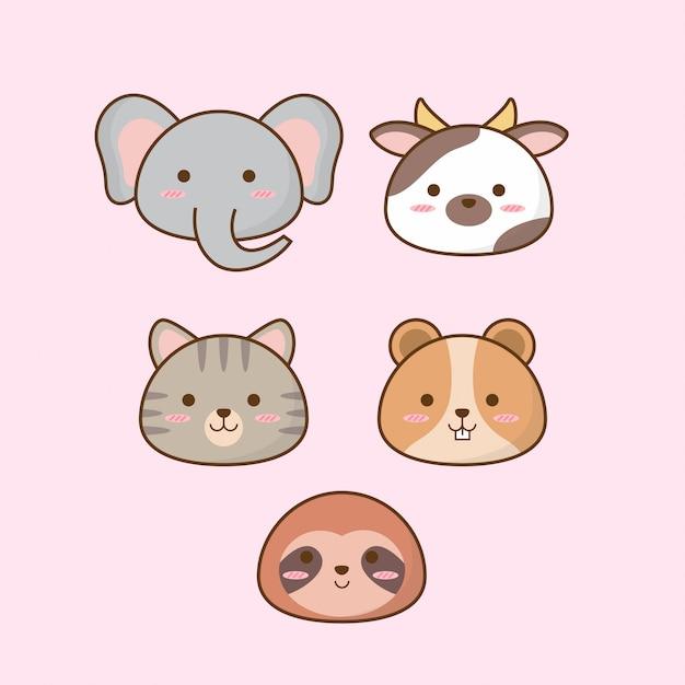Conjunto de iconos de animales de dibujos animados Vector Premium