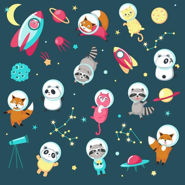 Conjunto de iconos de animales de espacio Vector Premium