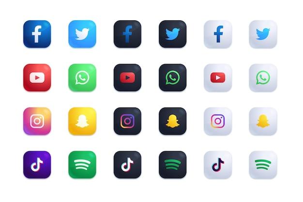Conjunto de iconos de aplicaciones vector gratuito