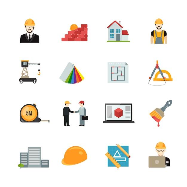 Conjunto de iconos de arquitecto vector gratuito