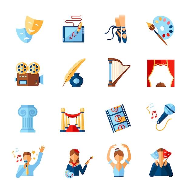 Conjunto de iconos de arte y cultura vector gratuito
