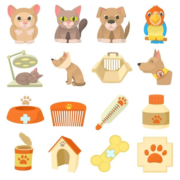 Conjunto de iconos de artículos de clínica veterinaria Vector Premium