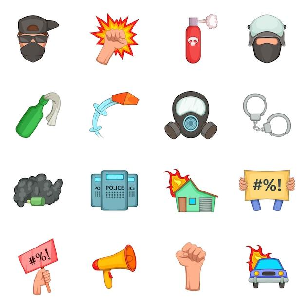 Conjunto de iconos de artículos de protesta Vector Premium
