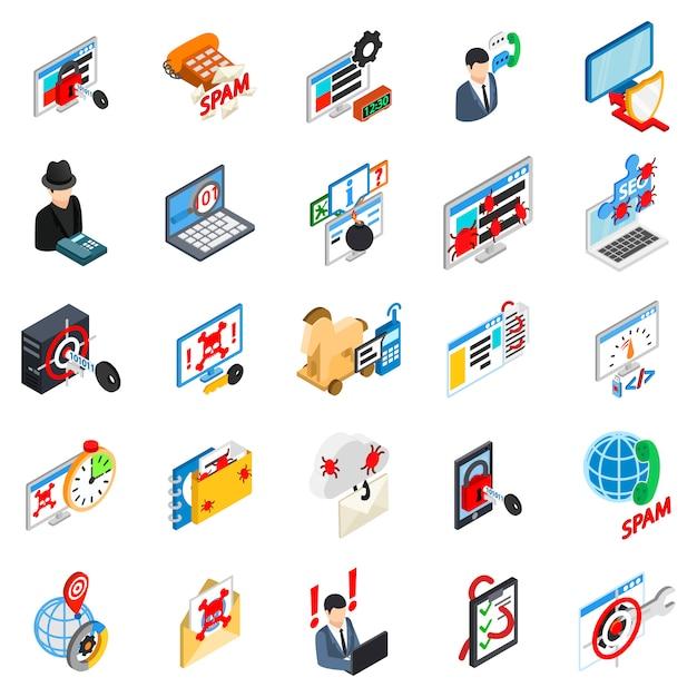 Conjunto de iconos de ataque cibernético Vector Premium