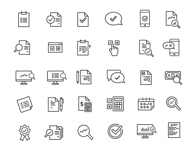 Conjunto de iconos de auditoría lineal. iconos de inspección en diseño simple. Vector Premium