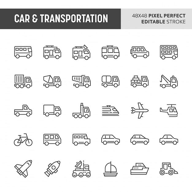 Conjunto de iconos de automóvil y transporte Vector Premium
