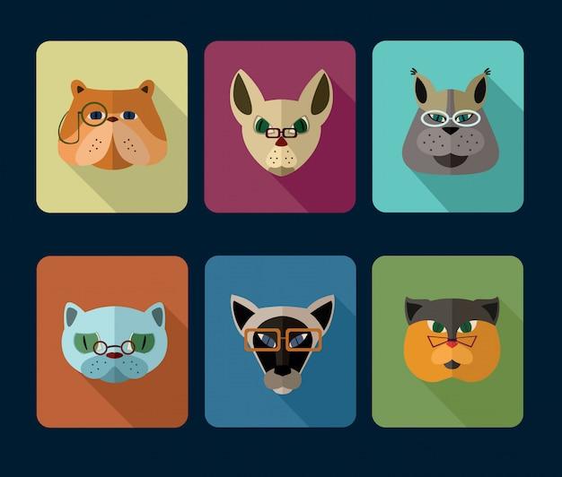 Conjunto de iconos de avatar de gatos Vector Premium