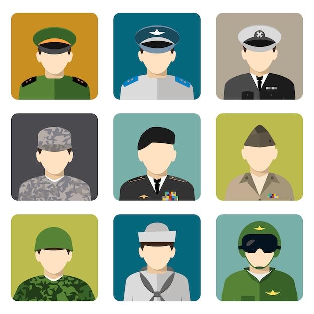 Conjunto de iconos de avatar de red social militar Vector Premium