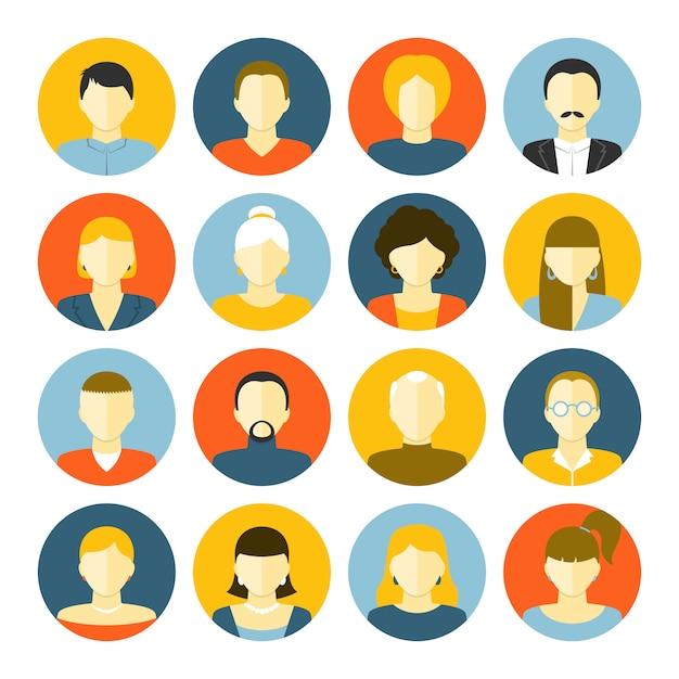 Conjunto de iconos de avatares vector gratuito