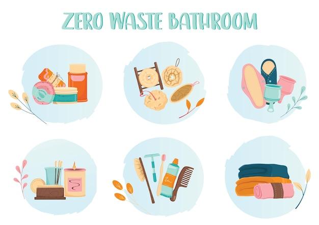 Conjunto de iconos de baño cero residuos. producto ecológico y herramienta para baño. suministros ecológicos para la higiene. jabón y cepillo biodegradables, almohadilla y toalla reutilizables. Vector Premium