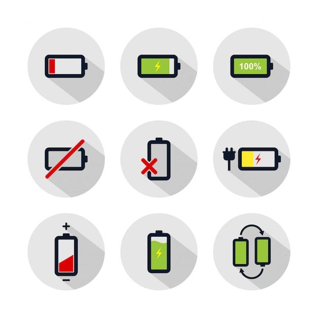 Conjunto de iconos de batería, ilustración de batería aislado en círculo gris Vector Premium