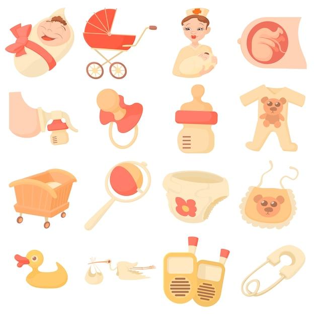Conjunto de iconos de bebé nacido Vector Premium