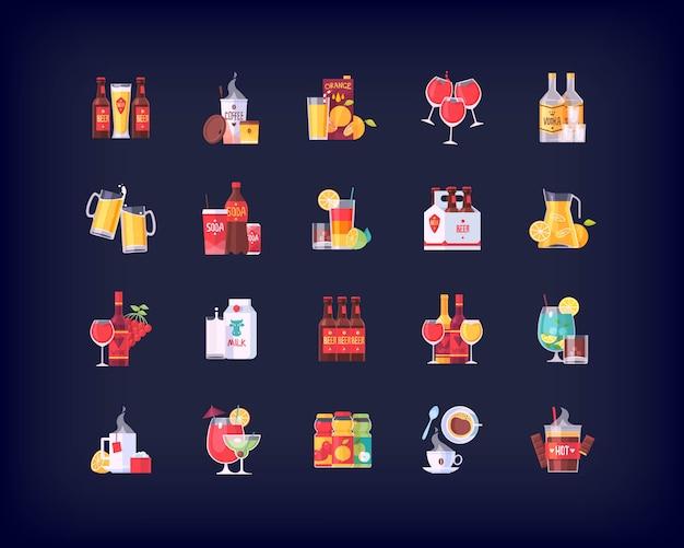 Conjunto de iconos de bebidas y bebidas Vector Premium