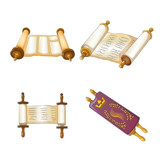 Conjunto de iconos de la biblia de desplazamiento de la torá Vector Premium