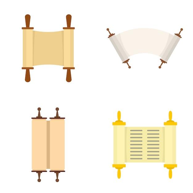 Conjunto de iconos de la biblia libro de desplazamiento de la torá Vector Premium