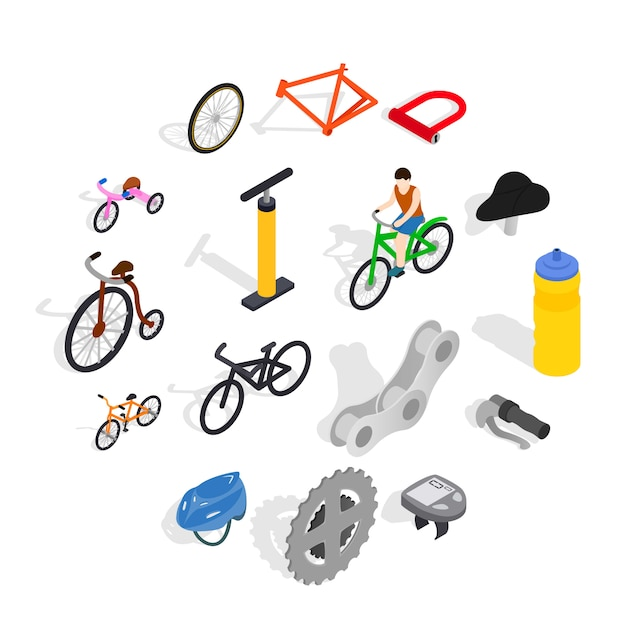 Conjunto de iconos de bicicleta, estilo isométrico Vector Premium