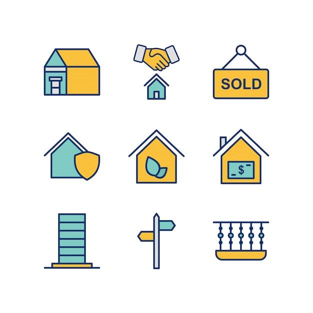 Conjunto de iconos de bienes raíces aislado en blanco Vector Premium