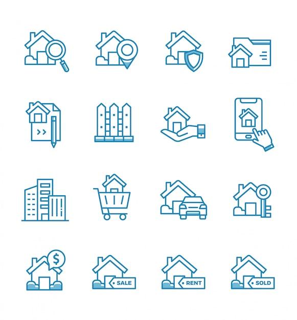 Conjunto de iconos de bienes raíces con estilo de contorno. Vector Premium