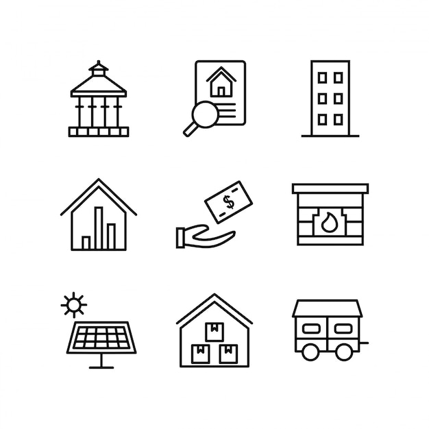 Conjunto de iconos de bienes raíces para uso personal y comercial Vector Premium