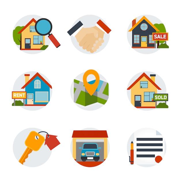 Conjunto de iconos de bienes raíces vector gratuito