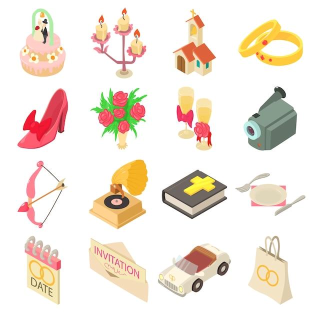 Conjunto de iconos de boda. ilustración isométrica de 16 iconos de vector de boda para web Vector Premium