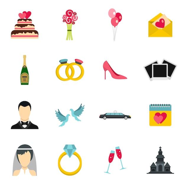 Conjunto de iconos de boda Vector Premium