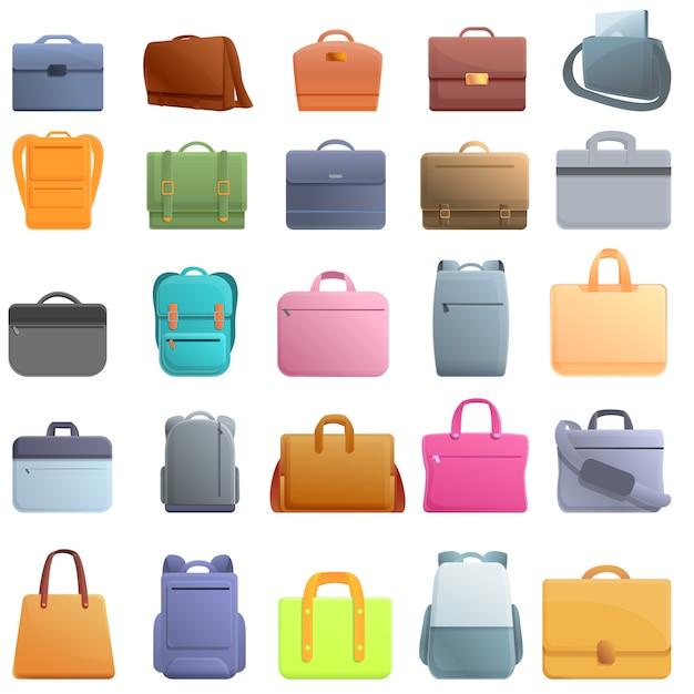 Conjunto de iconos de bolsa de portátil. conjunto de dibujos animados de iconos de vector de bolsa de portátil Vector Premium