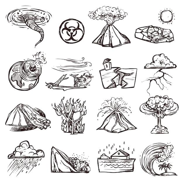 Conjunto de iconos de bosquejo de desastres naturales vector gratuito
