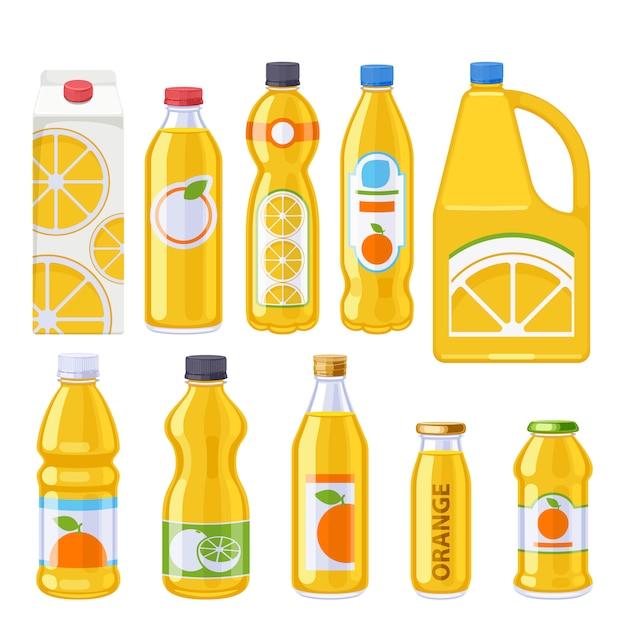 Conjunto de iconos de botellas de jugo de naranja. Vector Premium
