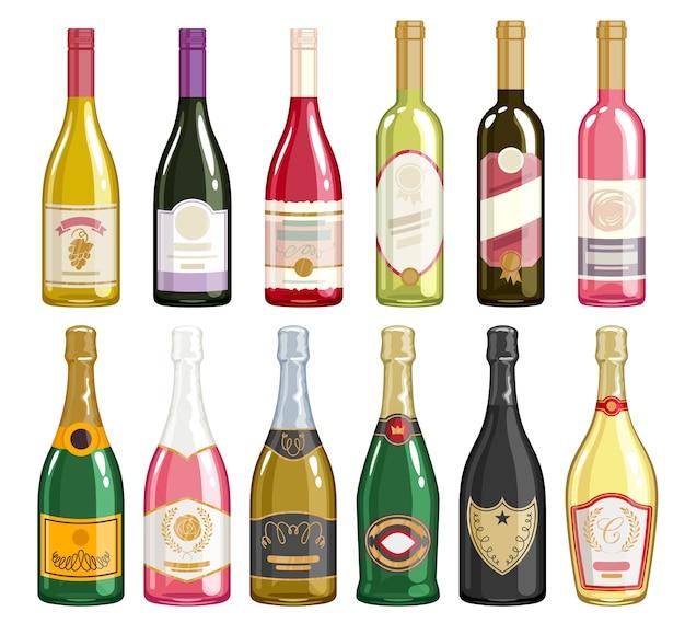 Conjunto de iconos de botellas de vino y champán. Vector Premium