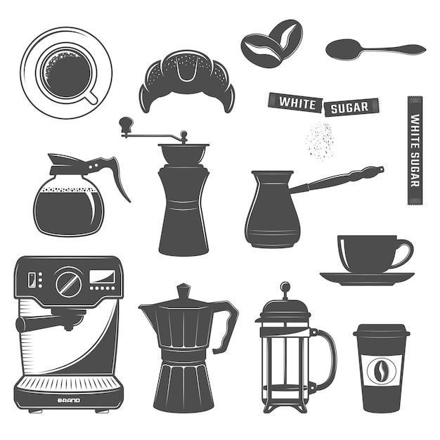 Conjunto de iconos de café vector gratuito