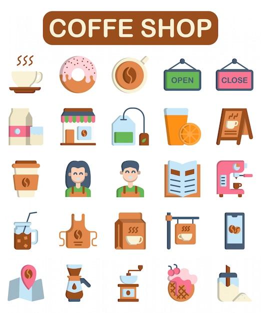 Conjunto de iconos de cafetería, estilo plano Vector Premium