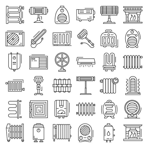 Conjunto de iconos de calentador eléctrico. conjunto de esquema de iconos de vector de calentador eléctrico Vector Premium