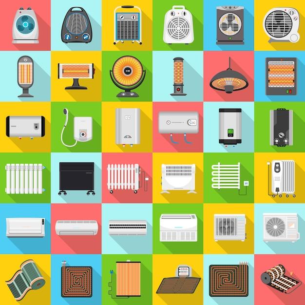 Conjunto de iconos de calentador eléctrico Vector Premium