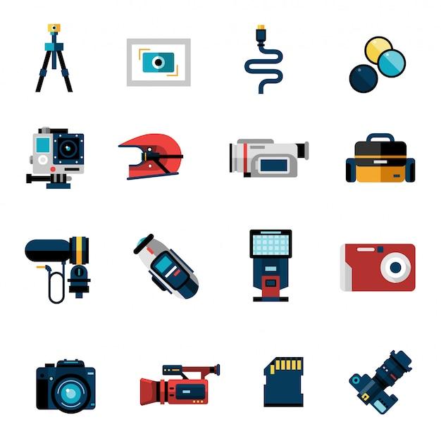 Conjunto de iconos de cámara vector gratuito