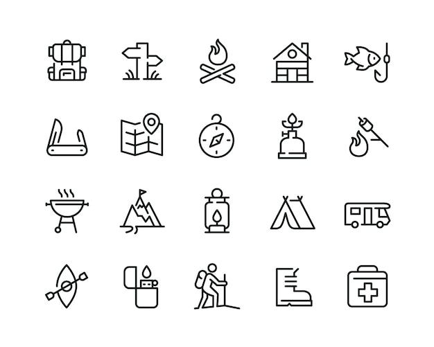 Conjunto de iconos de camping mínimo Vector Premium