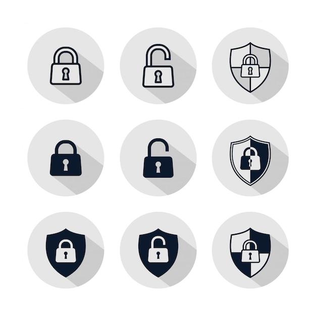 Conjunto de iconos de candado, ilustración de candado aislado en círculo gris Vector Premium