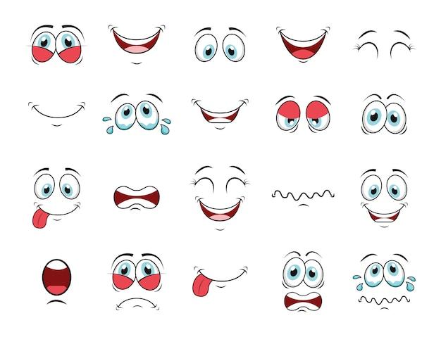 Conjunto de iconos de cara de dibujos animados vector gratuito