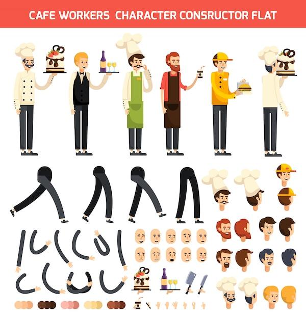 Conjunto de iconos de carácter de trabajador de café vector gratuito