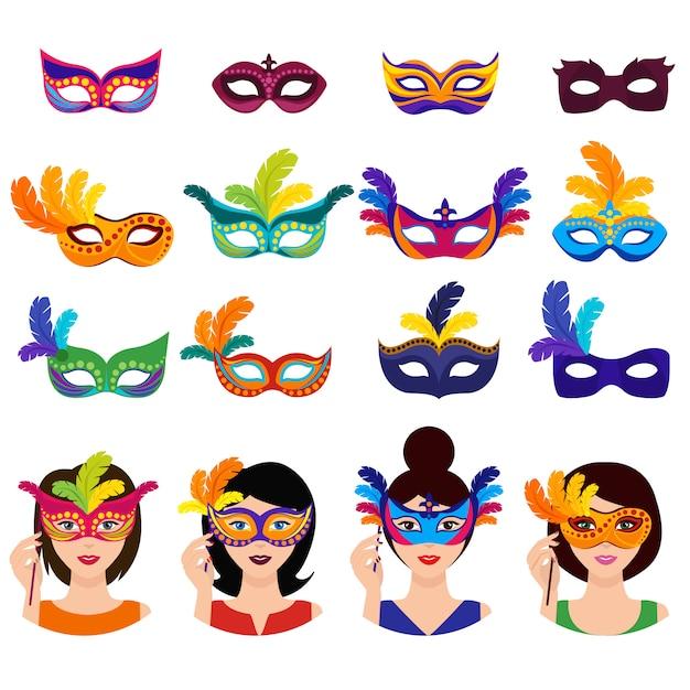 Conjunto de iconos de carnaval de bola vector gratuito