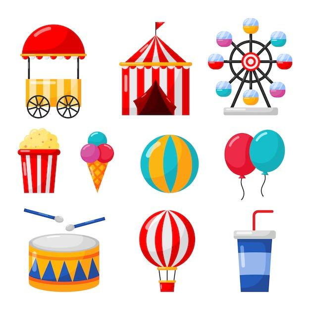 Conjunto de iconos de carnaval y circo aislar en blanco Vector Premium