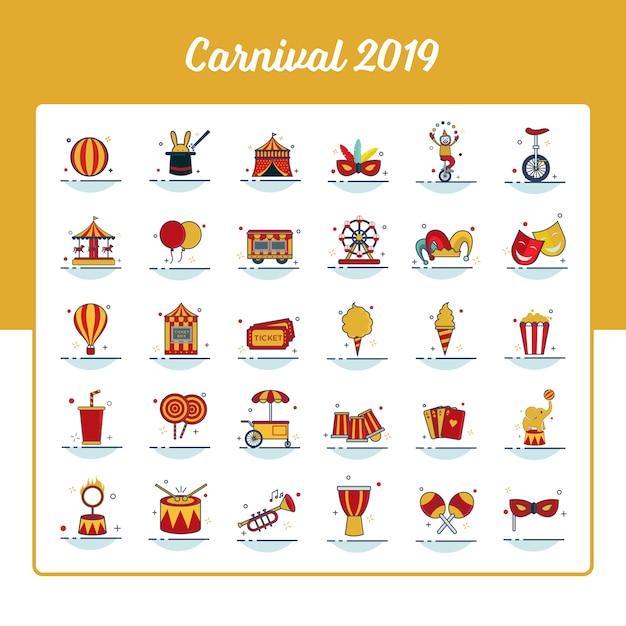 Conjunto de iconos de carnaval con estilo de contorno lleno Vector Premium