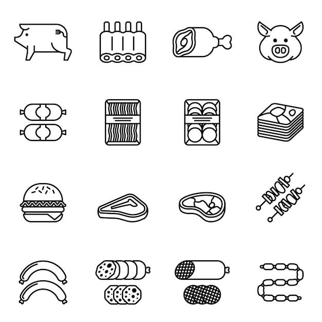 Conjunto de iconos de carne de cerdo y productos. vector de stock de estilo de línea delgada. Vector Premium